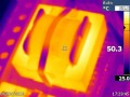 Thermal image of one of the SMPS transformers, 8R, 1kHz, half power, 10 seconds. Running warmer than expected, may suggest some core losses.