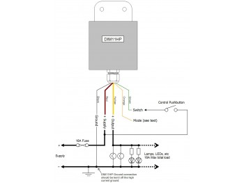 DIM11HP LED Dimmer, Push Switch Controlled, PWM, 12V 24V 16A Low Voltage - Product Image 1