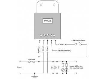 DIM11N LED Dimmer, Negative Low-side Output, Push Switch Controlled, PWM, 12V 24V 10A Low Voltage - Product Image 1
