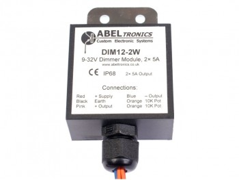 DIM12-2W LED Dimmer, Dual Output Potentiometer Controlled IP68 Waterproof, 12V 24V 5A Low Voltage - Product Image 1