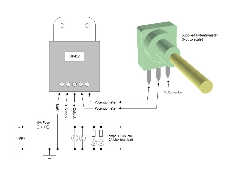 Dim12 Led Dimmer Rotary Potentiometer Controlled Pwm