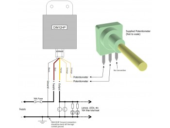 DIM12HP LED Dimmer, Rotary Potentiometer Controlled, Waterproof, PWM, 12V 24V, 16A Low Voltage - Product Image 1