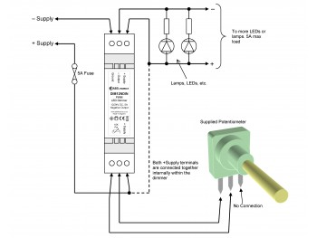 DIM12NDIN LED Dimmer, Rotary Potentiometer Controlled, Negative Output, PWM, 12V 24V, 5A Low Voltage DIN-mount - Product Image 1