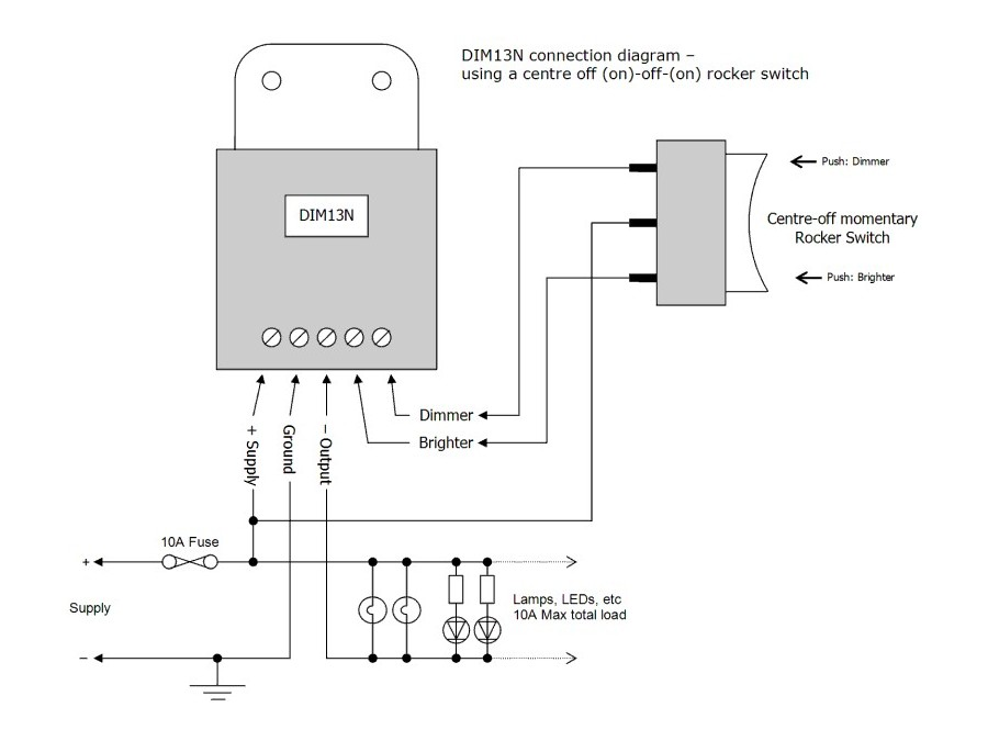 DIM13N - LED Dimmer, Dual Switch Controlled, Negative Low