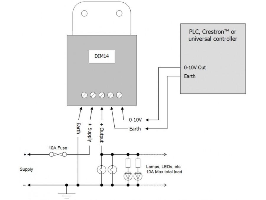 DIM14 - LED Dimmer, 0-10 Volt Controlled, PWM, 12V 24V Low ... on