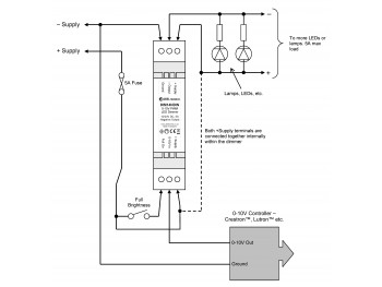 DIM14NDIN LED Dimmer, 0-10 Volt Controlled, Negative Output, PWM, 12V 24V Low Voltage 5A DIN mount - Product Image 1