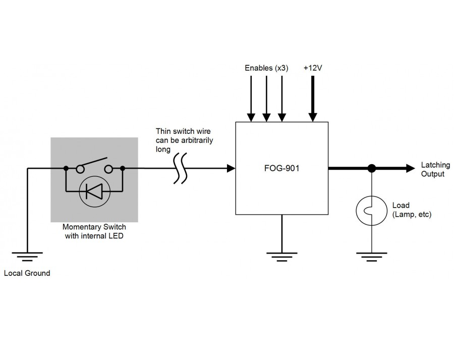 FOG-901 - Momentary Switch to Latching Switch Converter, Toggle Action
